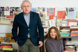 Enrique Cillero, 53 años, y Elena Aranaz de Motta, 49 años, en su estudio, fundado en Zaragoza en 1998.