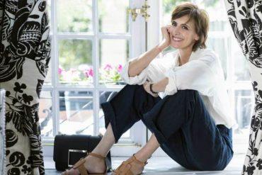 La modelo francesa sonriente en el hotel Santo Mauro, en su reciente visita a Madrid.